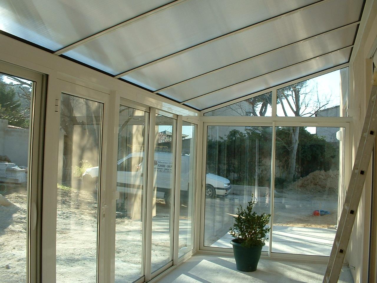 V randa alu toiture polycarbonate technic habitat marseille aubagne - Toiture pour veranda en polycarbonate ...